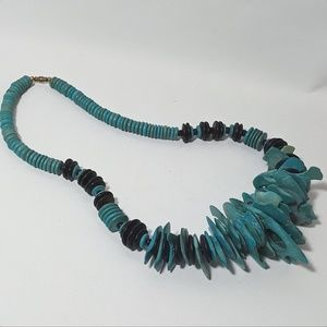 Vintage Teal and Black Statement Piece Necklace